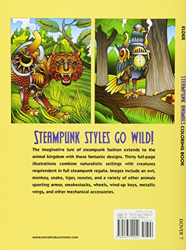 Steampunk Animals Coloring Book (Adult Coloring)