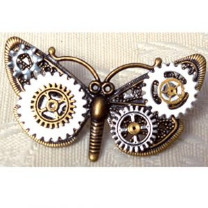 Petite Steampunk Brooch Pin, Butterfly Filigree Decorated w/ Assorted Gears, Unique Gift for Her