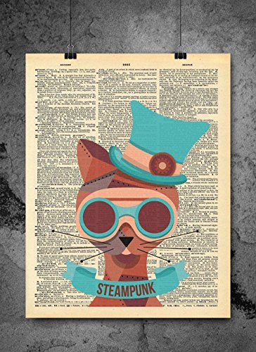 Steampunk Cat Animal Art Vintage Dictionary Print 8x10 inch Home Vintage Art Abstract Prints Wall Art for Home Decor Wall Decorations For Living Room Bedroom Office Ready-to-Frame