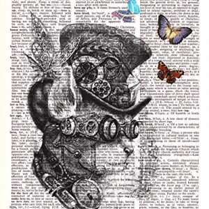 Steampunk Cat Explorer Adventurer Vintage Dictionary Style Art Print | Unframed | 8.5 x 11