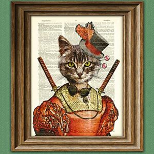Steampunk Cat Tabby Defender of the Alley illustration beautifully upcycled dictionary page book art print
