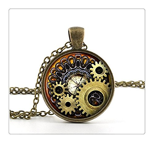 Steampunk Compass Necklace Pendant Vintage Bronze Chain Necklace Compass Style Gears Cog Jewelry Unisex Gift