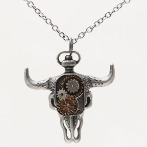 Steampunk Horned Bison Clockwork Necklace Gearwork Alloy Jewelry