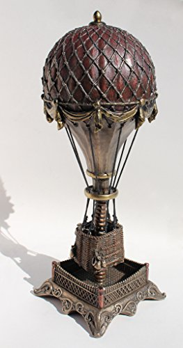 Steampunk Hot Air Balloon with Clock Statue Sculpture Cold Cast Bronze