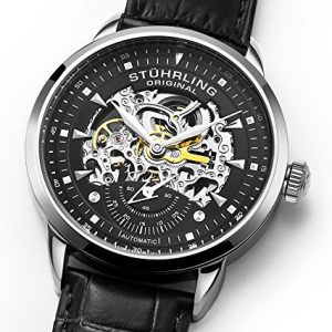 Stuhrling Original Men's 133.33151  Executive Automatic Skeleton Black Genuine Leather Strap Watch