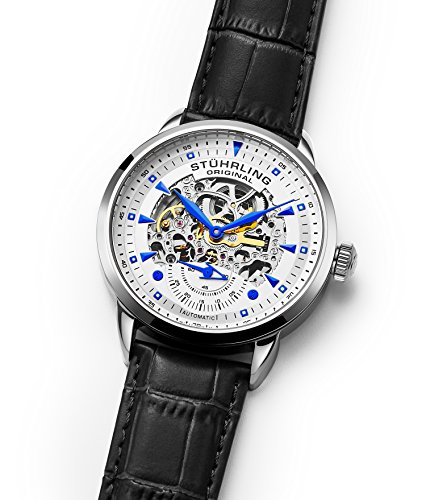 Stuhrling Original Men's 133.33152  Executive Automatic Skeleton Black Genuine Leather Strap Watch