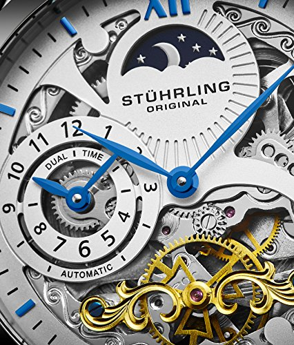 Stührling Original Mens Stainless Steel Automatic Watch, White Skeleton Dial, Blue Accents Dual Time, AM/PM Sun Moon, Black Leather Band, 571 Series