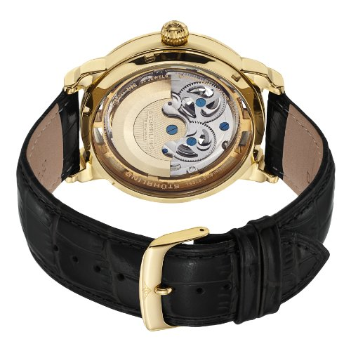 Stuhrling Original Men's 371.02 Legacy Automatic Self Wind Black Genuine Leather Strap Watch