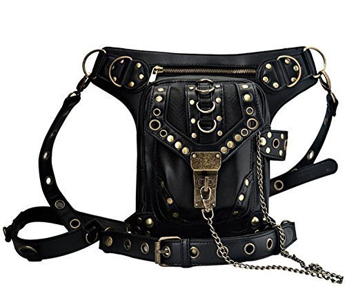 Nakimo Steampunk Waist Bag Gothic Retro Motorcycle Leather Bag Goth Shoulder Packs