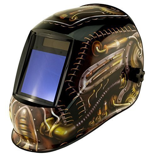 True-Fusion Big-1-Steampunk with 98x87mm Massive Viewing Area Solar Powered Auto-Darkening Welding Helmet/Grind Mask with FREE Storage Bag, Spare Lenses and Spare Sweatband included by True-Fusion