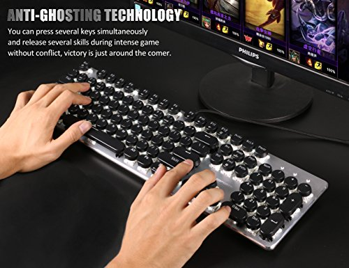 Typewriter Keyboard Retro Steampunk Keyboard 104 Keys Anti Ghosting Blue Switch Backlit Keyboard Typewriter Retro Style with Metal Base and Round Keycaps for PC and Mac