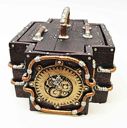 """Ebros Vintage Retro Design Steampunk Emergency Medic Shaped Jewelry Box Figurine With Golden Mechanical Gearwork Emblem Sculpture Statue 4.75""""Wide Small Storage Container With Lid Futuristic Art"""