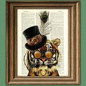 Viceroy Merriweather the Steampunk Tiger illustration beautifully upcycled dictionary page book art print