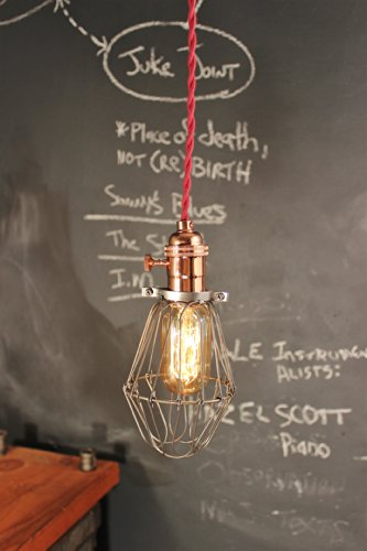 Vintage Industrial Pendant Light with Bulb Cage - Copper Lamp - Ceiling Lamp - Swag - Hanging Light