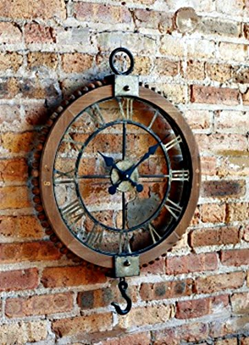 "Vintage Industrial Rustic Pulley-Style Roman Numeral Clock 22"" Round"