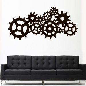 Wall Decal Vinyl Sticker Decals Art Decor Design Steampunk Gears and Cogs Geometric Machine Circles Mechanism Bedroom Dorm (Z3163)
