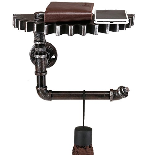 Wall Mounted Floating Shelf, Steampunk Industrial Metal Pipe Rack with Gear Design Wood Shelf