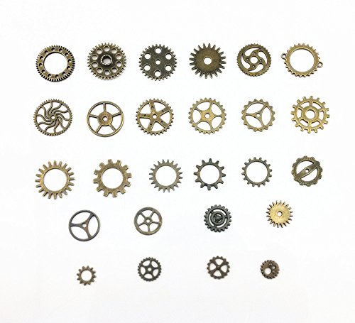 Yueton 100 Gram (Approx 70pcs) Antique Steampunk Gears Charms Clock Watch Wheel Gear for Crafting