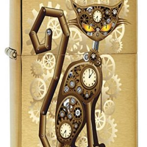 Zippo Lighter: Steampunk Cat - Brushed Brass 76737