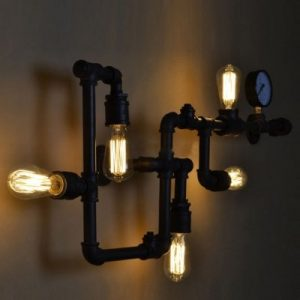 hua Farmhouse Industry Steam Punk Wall Light with 5 Lights