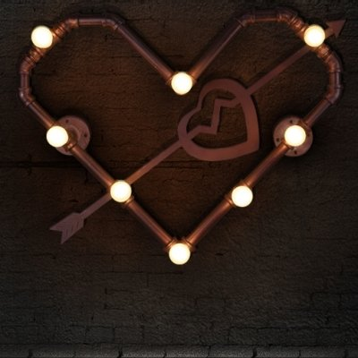 hua Lovely Heart Shaped Steam Punk Wall Light in Loft Style