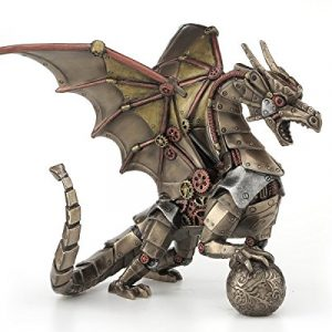 Steampunk Mechanical Gear Dragon Sitting Holding Sphere Statue Sculpture Bronze
