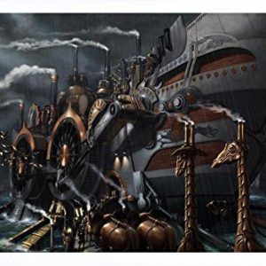 Abstract Sign - #13853 Steampunk Ship Metal Tin Poster