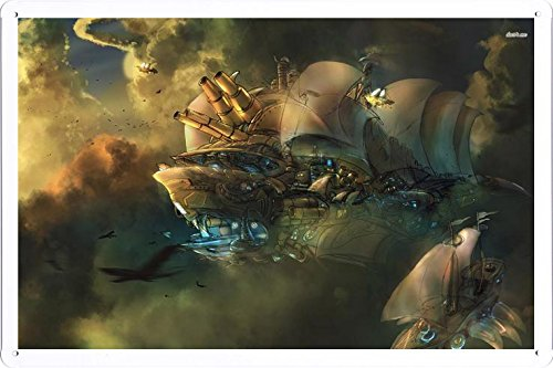 Abstract Sign - #17076 Steampunk Blimps Metal Tin Poster