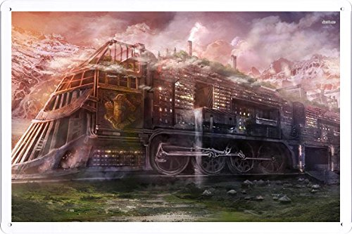 Steampunk Train Metal Tin Poster