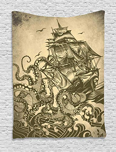 Sailor Ship Octopus Sepia Print
