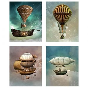 Steampunk Airship Fantasy Prints - Set of 4