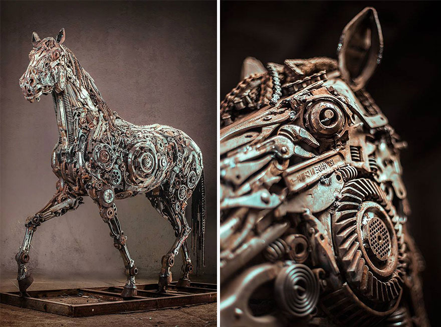 Steampunk style sculpture by Hasan Novrozi
