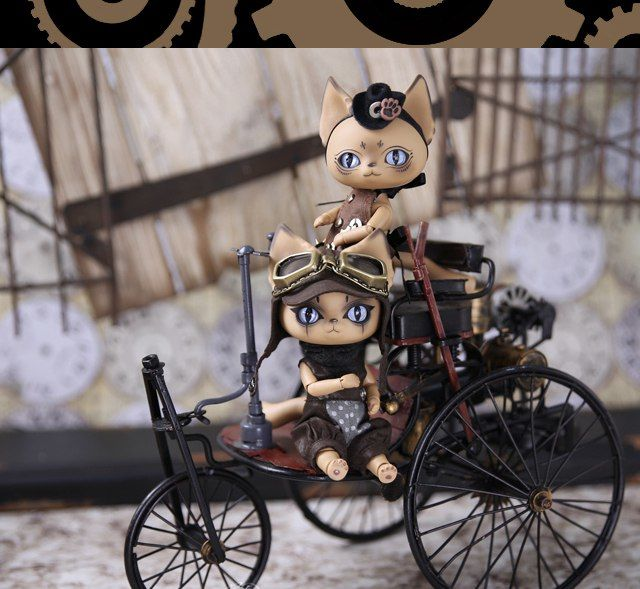 Steampunk cats by Dearmine Doll