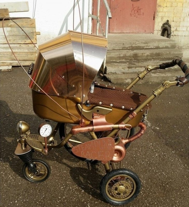 Russian steampunk style baby carriage
