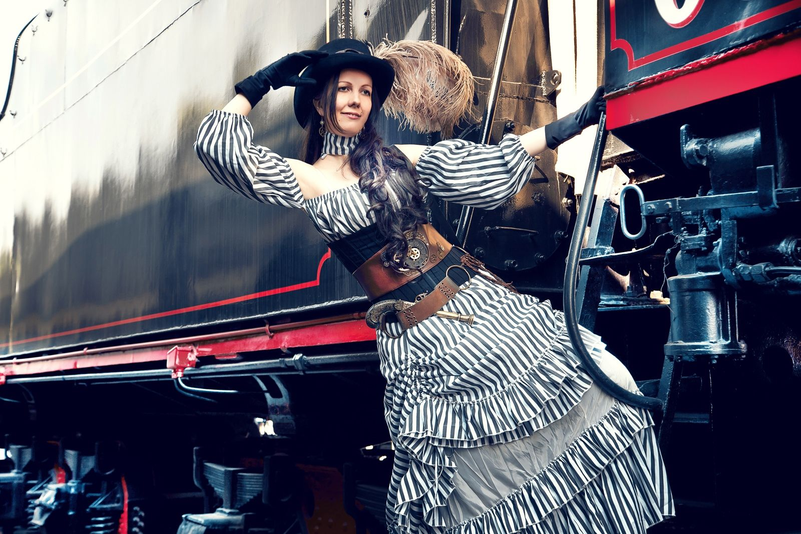 steampunk style photo train