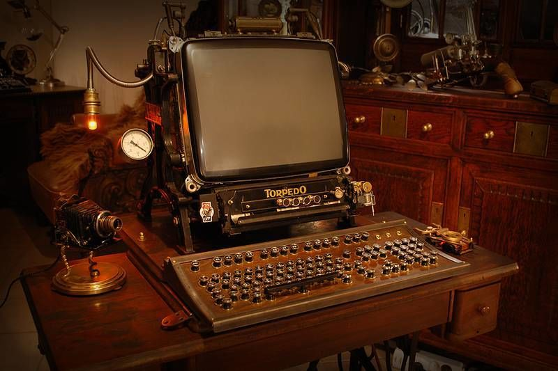 Steampunk style workplace