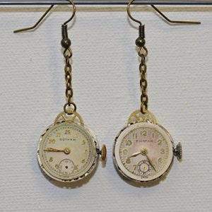 Earrings: Vintage watch with crystals (capri blue) and dial