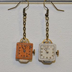 Earrings: Vintage watch with crystals (capri blue) and square dial