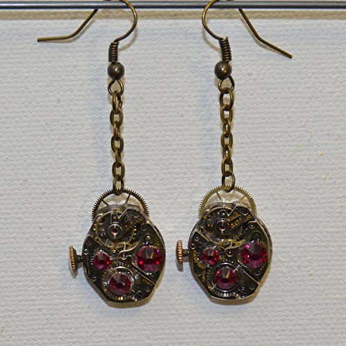 Earrings: Vintage watch with crystals (fuchsia) and dial