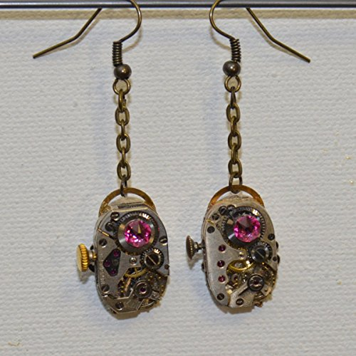 Earrings: Vintage watch with crystals (rose pink) and dragonfly