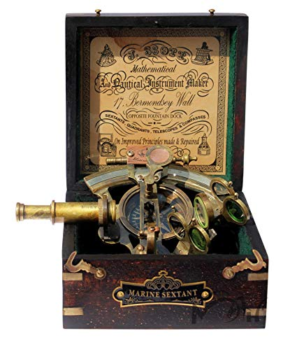 Astrolabe Brass Sextant with Compass Hardwood Box